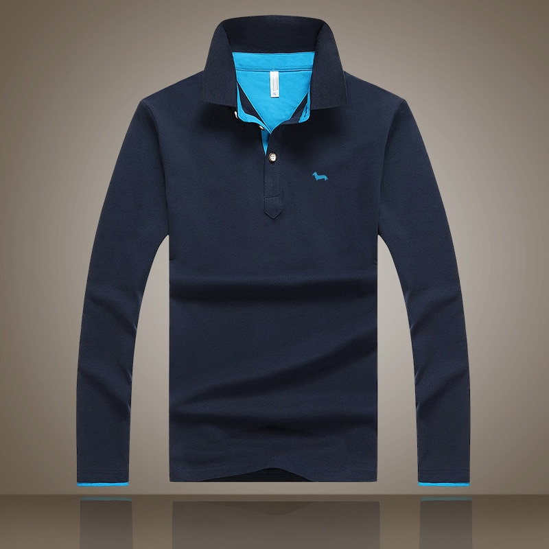 2019 Nieuwe mannen borduren harmont Lange mouwen Polo Shirt Plus 6 Kleuren Casual Turn-down Kraag Polo Goede kwaliteit Polo Shirt blaine