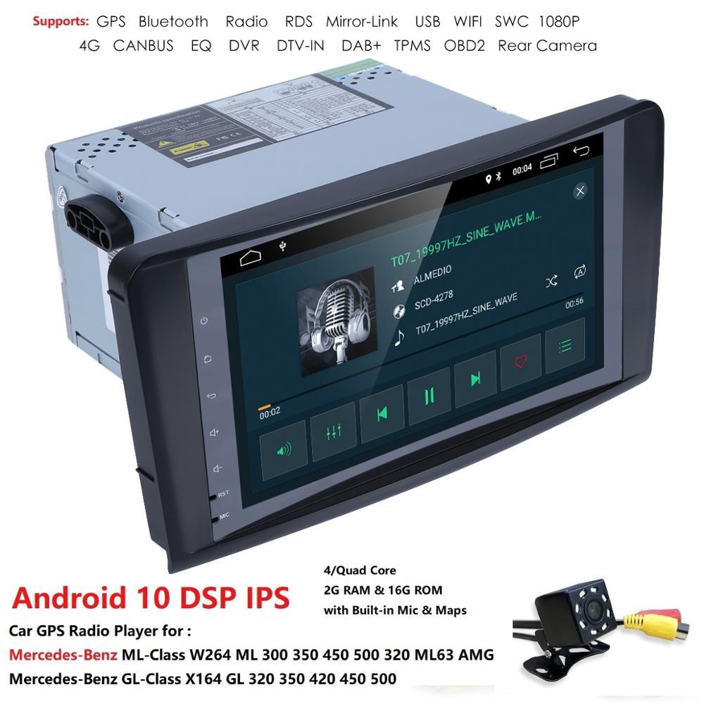 2 + 16 Android 10 AutoAudio player gps para BENZ ML 320/ML 350/W164(2005-2012) de navegación Multimedia cabeza dispositivo Unidad de recepción