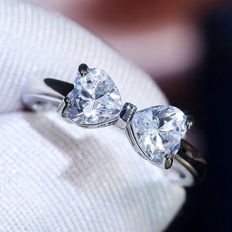 Anillo de plata con lazo de cuatro garras para mujer, bonito anillo de Zirconia cúbica, regalo de piedra natal, joyería de moda