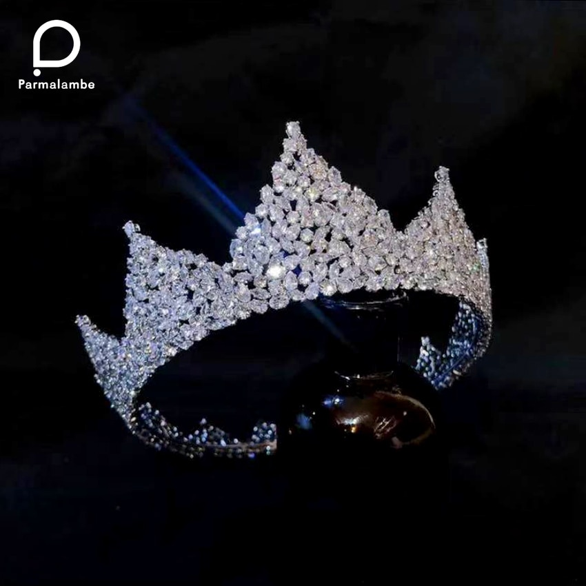 Review Parmalambe Luxury Bridal Wedding Hair Accessories Queen Crown Fashion Full Zircon Crystal Tiaras Round Crown Engagement Jewelry