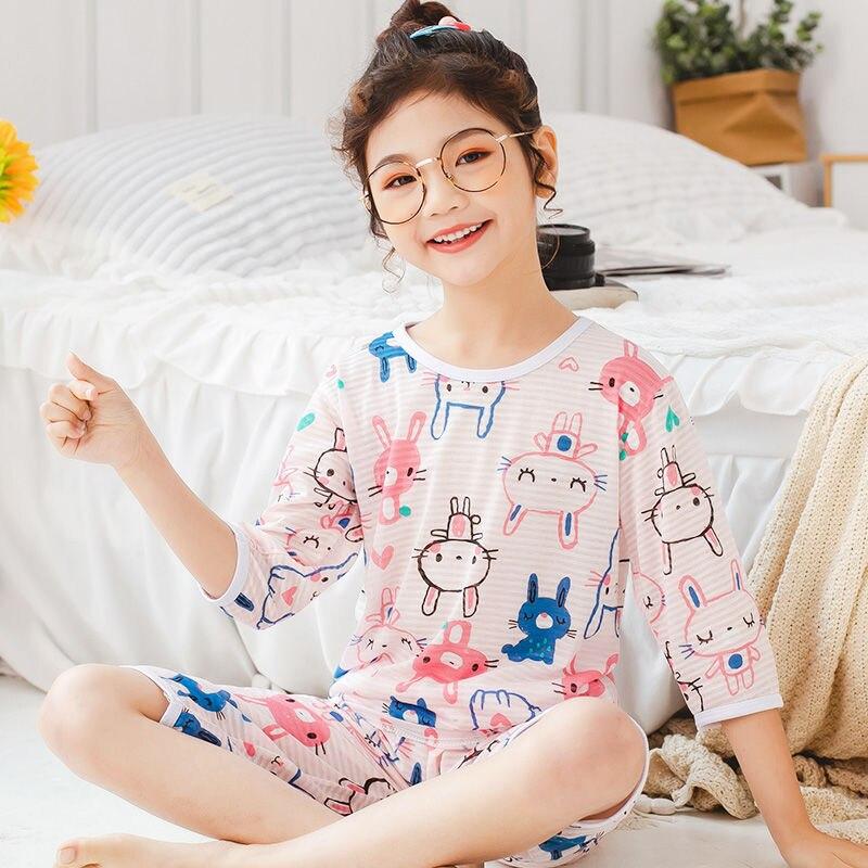 Conjunto de pijama de bebé para niños, ropa de dormir de algodón con dibujos de conejos para verano, Pijamas de animales para niños y niñas