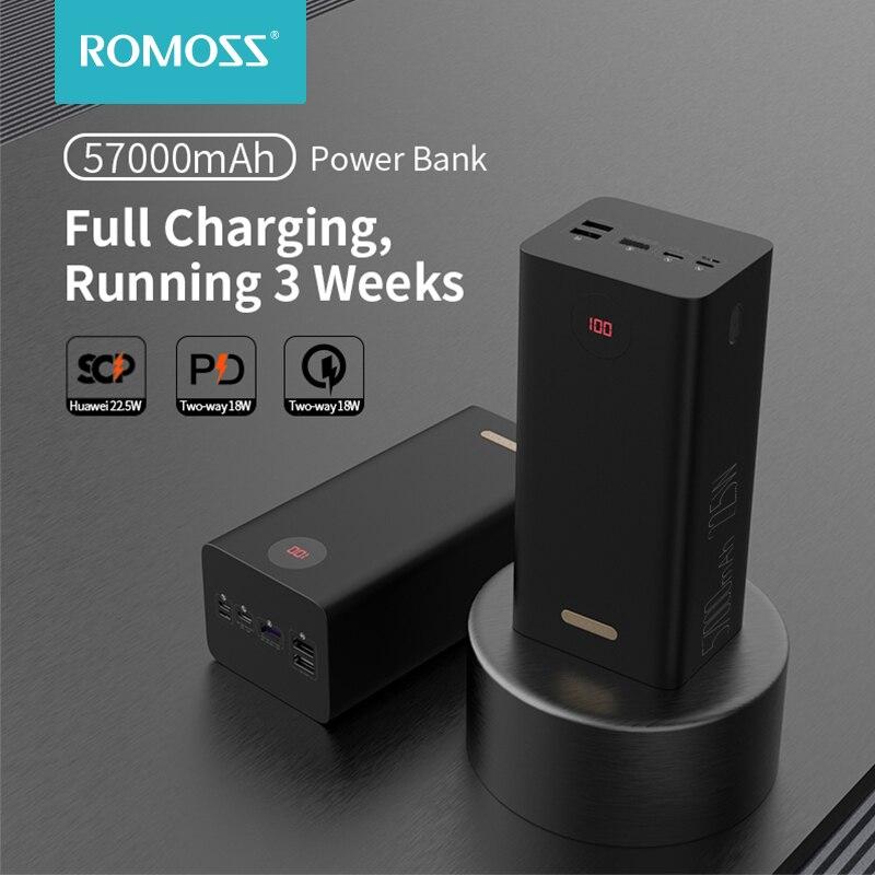 ROMOSS PEA57 Power Bank 57000mAh SCP PD QC 3.0 Two-way Fast Charging Powerbank Type-C External Batte