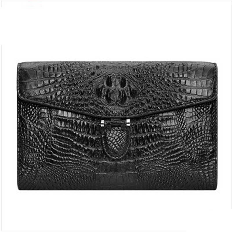 kaisadadi Man clutch bag men bag large capacity crocodile leather wallet card bag black
