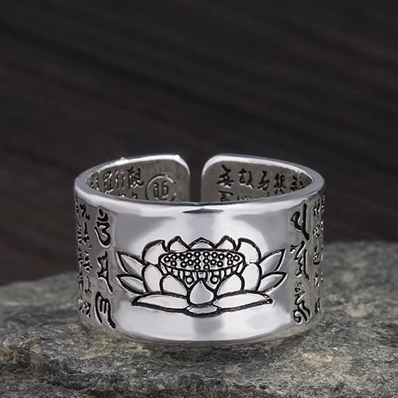 Wonlife Vintage Ring Amulet Buddha Lotus Buddhist Chinese Letter Opening Rings Men&Women Good Luck Gift Jewelry Ring