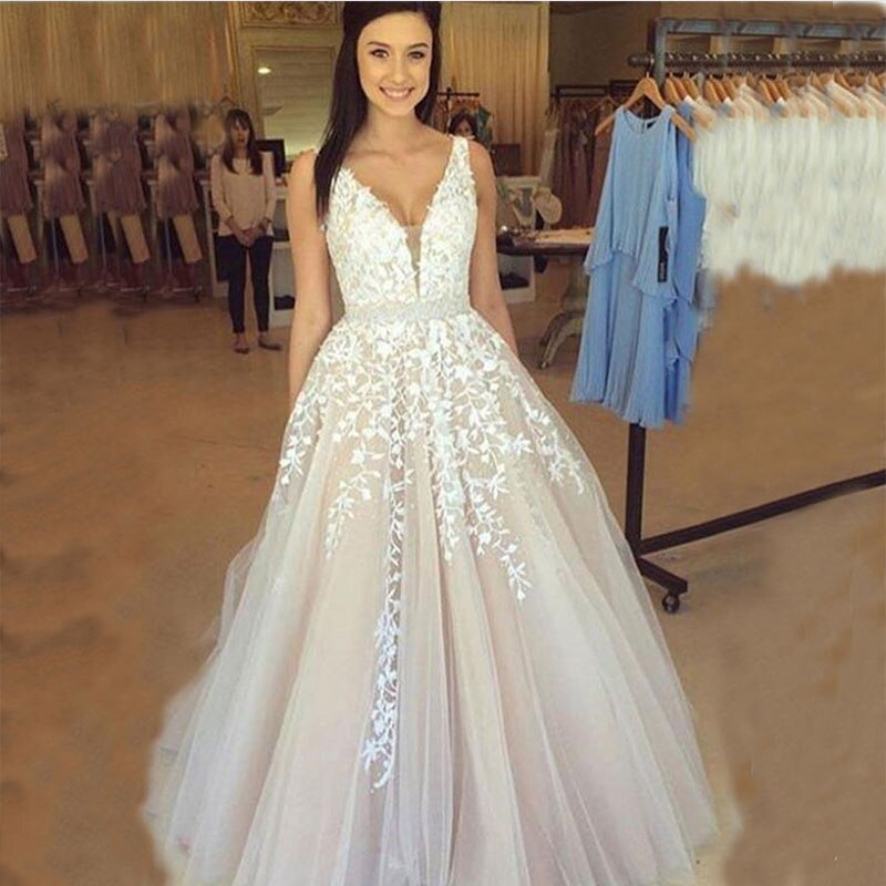 ZJ9149 V Neck Branco Marfim Contas vestido de Vestidos De Noiva 2019 2020 vestido de Noiva plus size 2 4 6 8 10 12 14 16 18 20 22 24 26