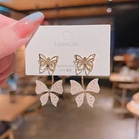 2021 fashion personality exaggerated butterfly pearl s925 silver needle earrings feminine temperament exquisite earrings