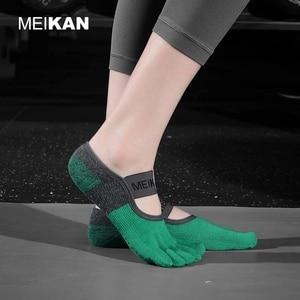 1Pair Women Toe Yoga Socks Terry Sole Anti-Skid 5 finger Non-Slip High-Quality Brand Dance Pilates Ballet Yoga Meias