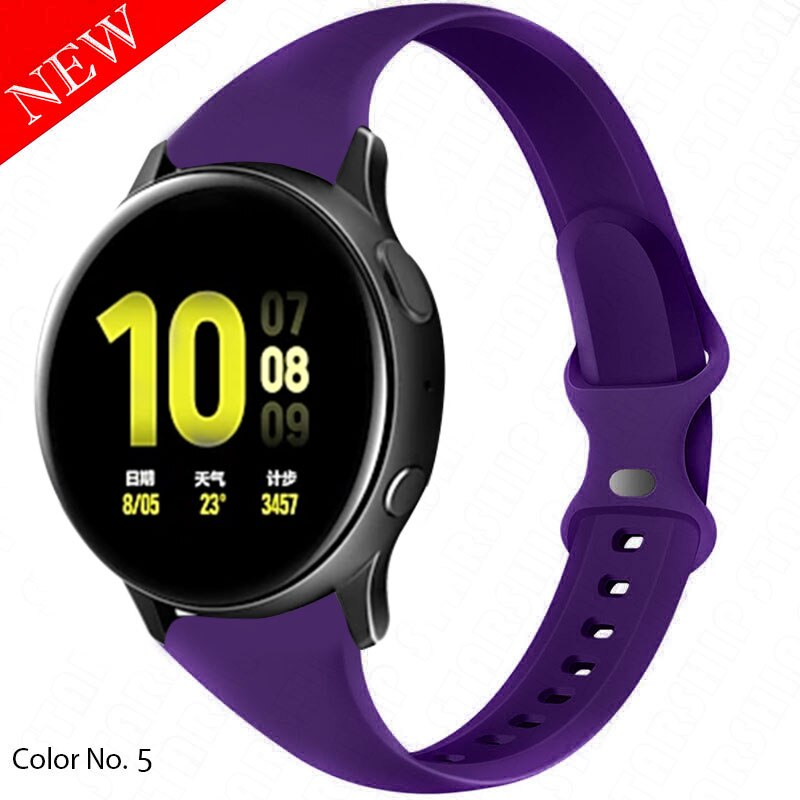 20mm Sport Bands for Samsung Galaxy Watch 4 41mm Galaxy Active 40mm & Galaxy Watch Active 2 Silicone Band Narrow Wristband aксессуар ремешок samsung galaxy watch sport band pink et sfr82mpegru для active active 2
