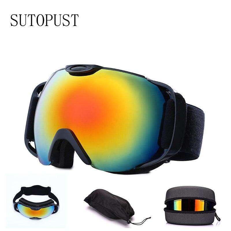 UV400 Protection Skiing Glasses Double-layer Anti-fog Ski Goggles Big Ski Eyewear Snow Ski Snowboard Mask Men Women Winter Sport