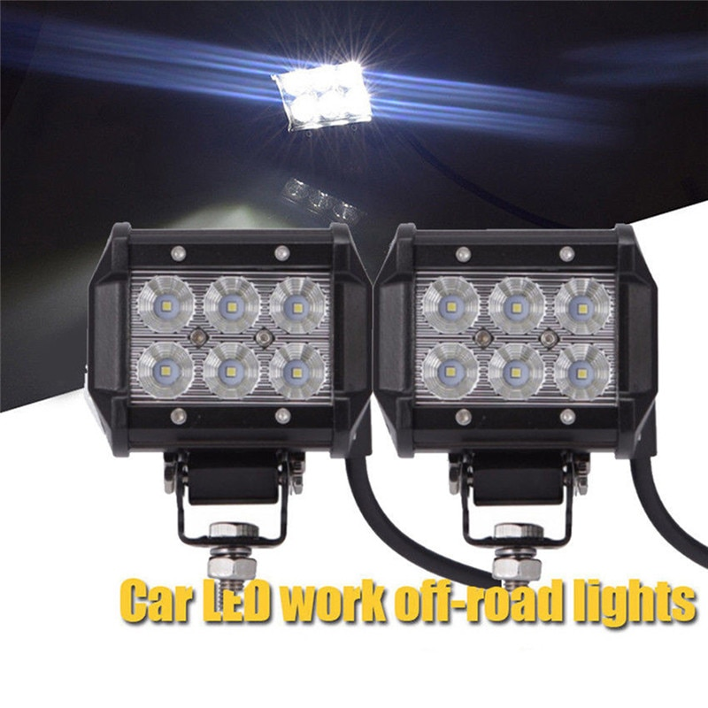 bjmoto motorcycle 4pods rgb led bluetooth rock lights off road truck suv car led rock light music phone control multicolor light 12V 18W Car Led Light Bar Work Light Lamp Cree Chip LED 4 Motorcycle Tractor Boat Off Road 4x4 4WD Truck SUV ATV