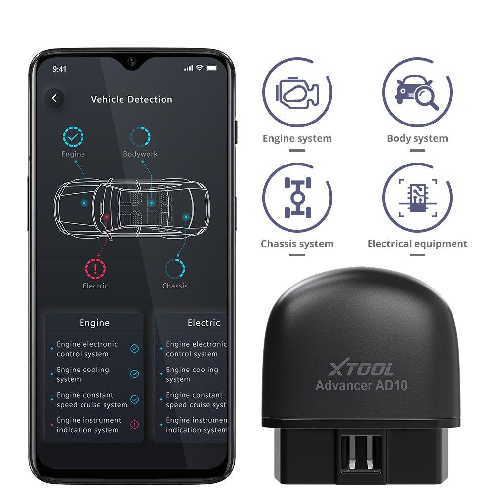 New XTOOL AD10 OBD2 Diagnostic Scanner Bluetooth-compatible ELM327 Read Work Car fault scanning detection diagnostic instrument