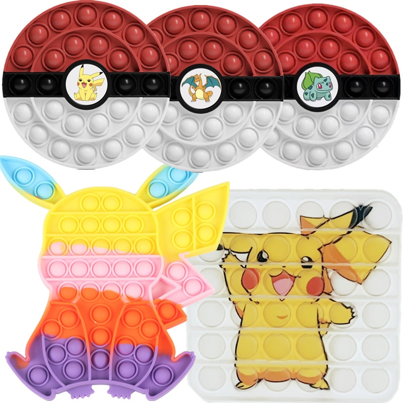 Pokemon PopSit Fidget Toys GoBang 20.5CM Rainbow Desktop Kids Pikachu Charizard Bulbasaur Squirtle P