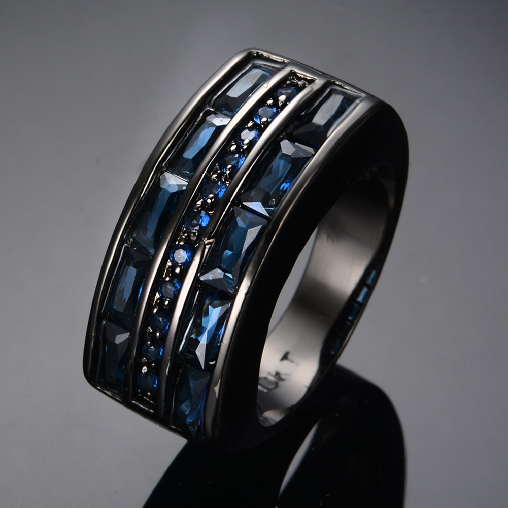 Luxury Male Female Blue Crystal Stone Ring Charm 14KT Black Gold Wedding Rings For Women Dainty Geometry Zircon Engagement Ring  - buy with discount