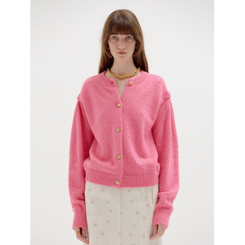 Kpop IU ROSE New Single Breasted O-Neck Women Pink Long Sleeve Cardigan Sweaters Knitted Loose Oversized Jumper Tops Jacket Coat enlarge