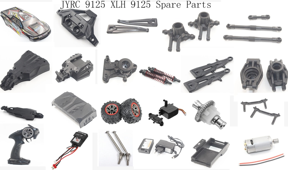 JYRC 9125 XLH 9125 1/10 RC car spare parts body shell arm tire bumper steering wheel servo different