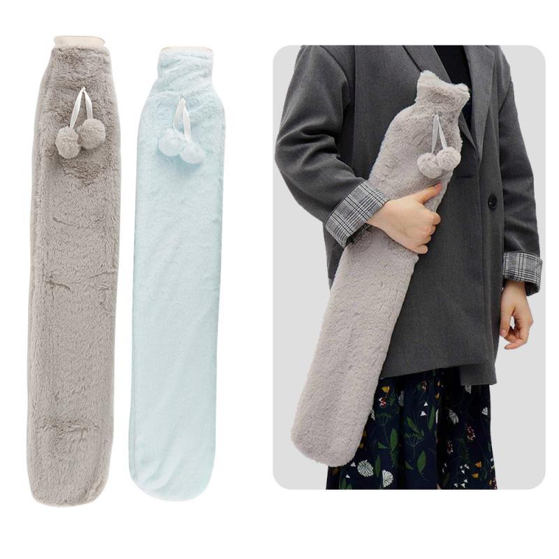 70x12cm funda extraíble termoterapia de piel botella de agua caliente de goma bolsa de botellas de agua caliente Extra larga para el calentamiento del pie de la mano de la cintura