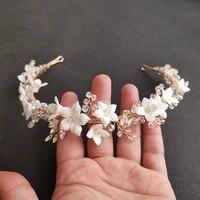 slbridal handmade luxury rhinestones crystal pearls ceram flower bridal tiara wedding bridesmaids crown women hair jewelry