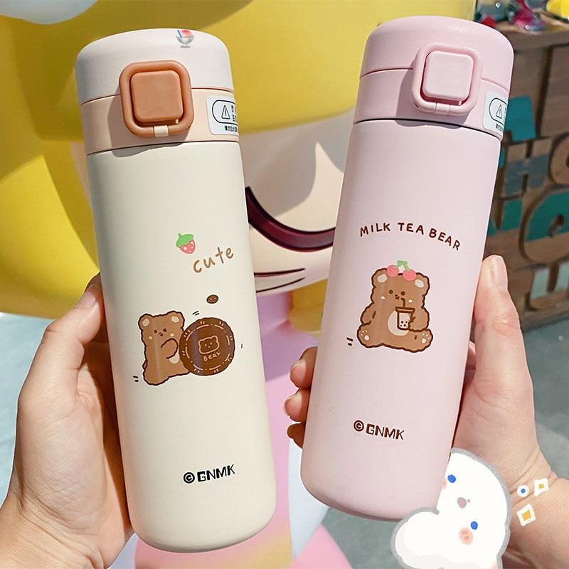 SHZQ 350/450 مللي الدب زجاجة تُرمُس القدح الكرتون لطيف الأطفال الفتيات الصبي كذاب زجاجة المياه 304 مكنسة من الفولاذ المقاوم للصدأ قارورة Cu