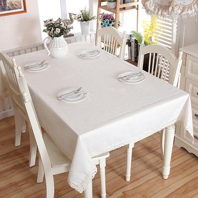 Mantel de Color sólido blanco mantel de comedor de moda mantel de mesa Lisa cubierta de mesa para mesa rectangulares en tela