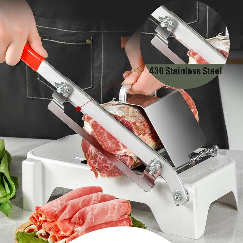 Máquina de Corte de Carne Espessura do Agregado Manual Vegetal Alimentos Frutas Slicer Cordeiro Carne Congelado Gadget Familiar Ajustável