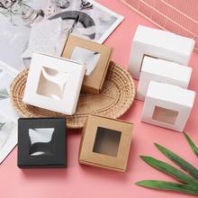 10 Uds. Caja de papel Kraft transparente PVC ventana cajas de jabón joyería regalo caja de embalaje boda San Valentín caja de caramelos para regalos