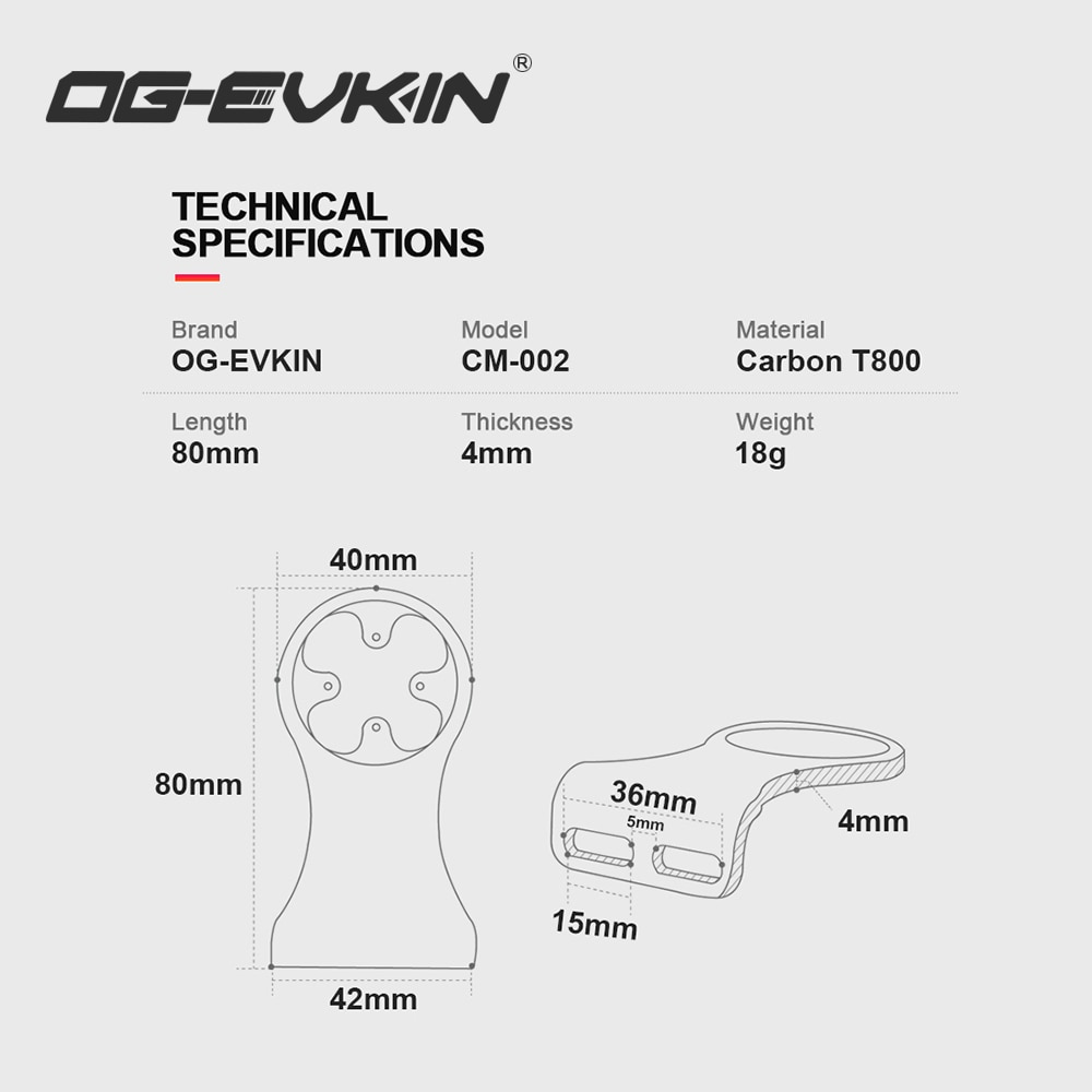 Купить с кэшбэком OG-EVKIN CM-02 Bike Stem Extension Carbon Computer Mount Code Table Rack For GPS/Bike Computer/Camera/Light Bicycle Accessories
