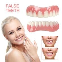 Silicone supérieur/inférieur fausses dents parfait rire placages prothèses dentaires pâte outils dhygiène buccale fausses dents