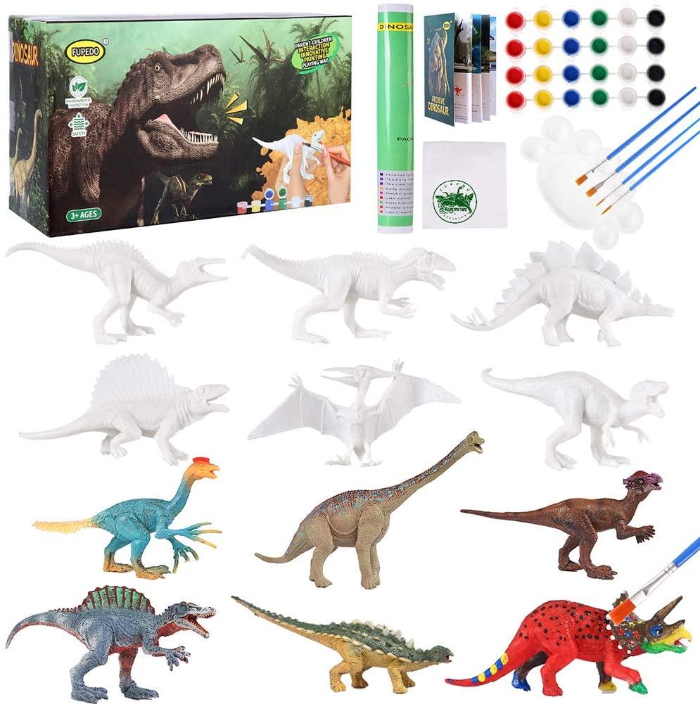 QFUPEDO картины с изображением динозавров Kit для детей, 12 шт., набор игрушек динозавров, искусство и ремесло, фигурки динозавров для детей 4 5 6 7 8 9 ...