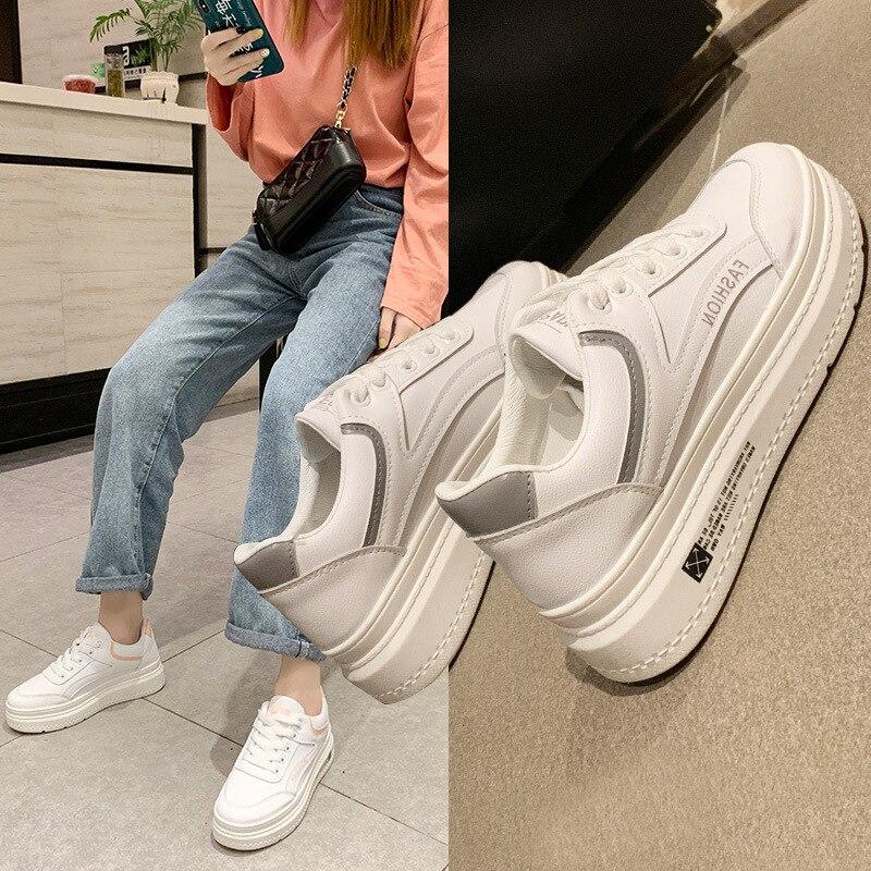 2019 Nova Moda Tênis de Plataforma Brancas Grossas Sapatos Mulher Sapatos Casuais Mulheres Preto Rosa Old Skool Trampki Senhoras Formadores