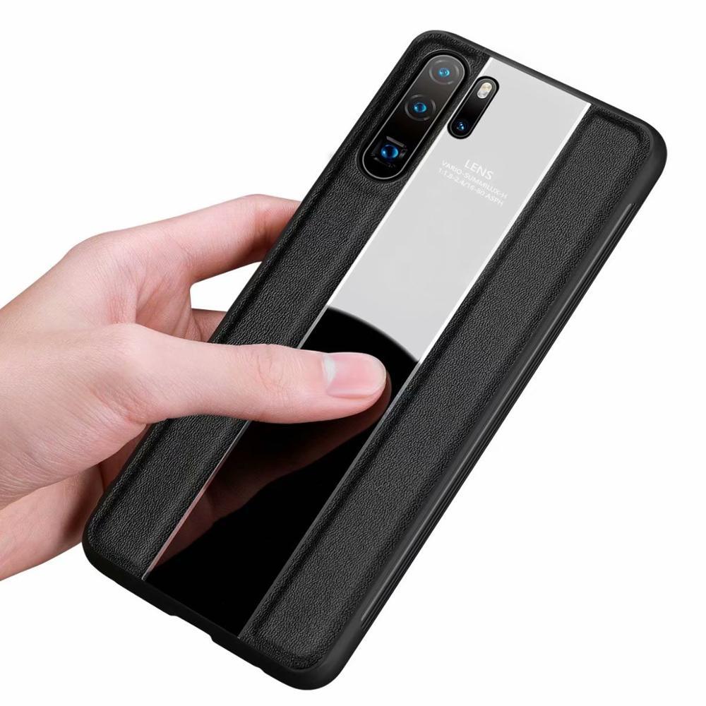 YXAYN-جراب هاتف من الجلد الخالص لهاتف huawei p30 p30pro p30lite ، جراب أنيق وبسيط للأعمال