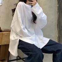 korean harajuku fashion cotton solid color split design t shirt womens long sleeve autumn loose medium long white bottom tops
