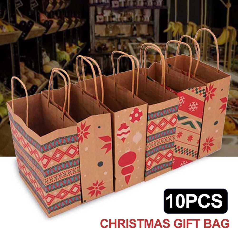 10Pcs Fashion Snowflake Xmas Tree Paper Bag Chrismas  Gift Storage Handheld Pouch