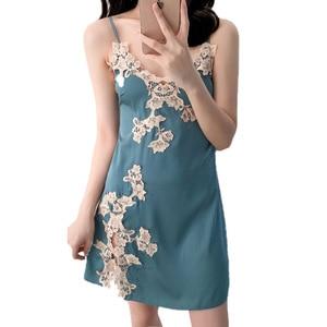 Ladies Dress Silk Silk Night Skirt Floral Evening Dress Split V-neck Underwear Dress Summer Sleeveless Sexy Lingerie Clothing