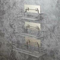 Panier organisateur de douche en acier inoxydable etagere de salle de bain panier de douche etagere de rangement murale avec ventouse