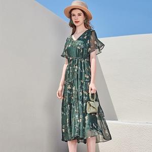 Silk printed dress wholesale summer new Hangzhou silk women's V-neck Short Sleeve Silk Dress