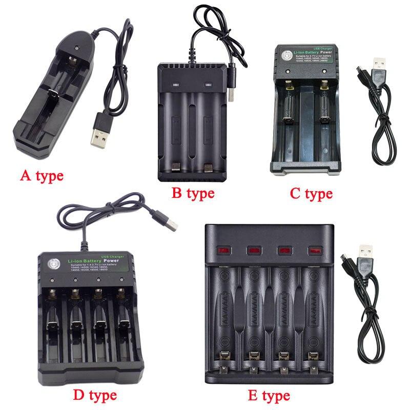 Cargador de batería recargable USB de 5V 18650 14500 AA AAA 1,2 V 3,7 V Li-ion 1/2/3 ranura de Puerto 18350 baterías adaptador de carga de energía