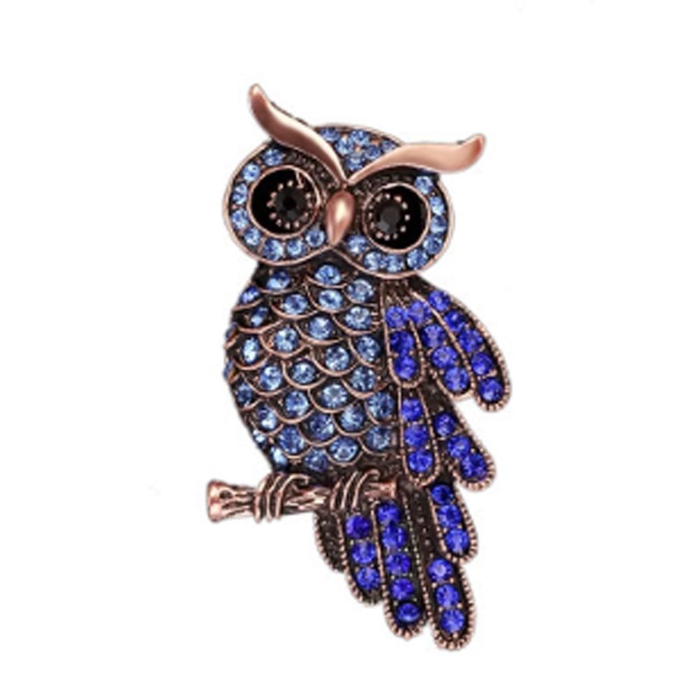 Fashion Delicate Owl Brooches Korean Trendy Zinc Alloy Imitation Rhinestone Blue Brooch Badge Pin Wo