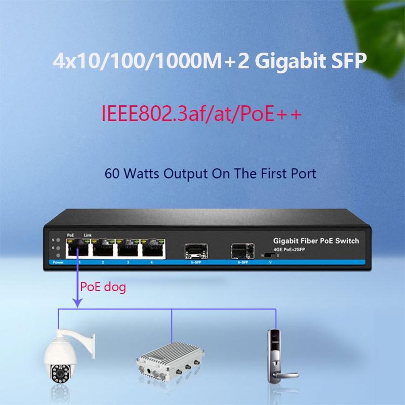 Фото - 4 Ports PoE switch Gigabit switch with standardized port IEEE 802.3 af/at /PoE++ Uplink 2 SFP 250meter Vlan isolated switch 24 ports poe switch with 2 gigabit sfp port 400w poe switch 24 port full gigabit switch