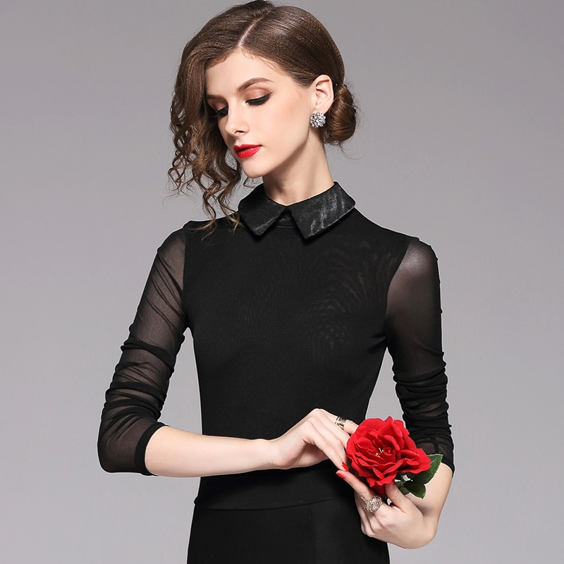 Strict brand women's wear spring and autumn new baby collar T-shirt women's long sleeve small shirt