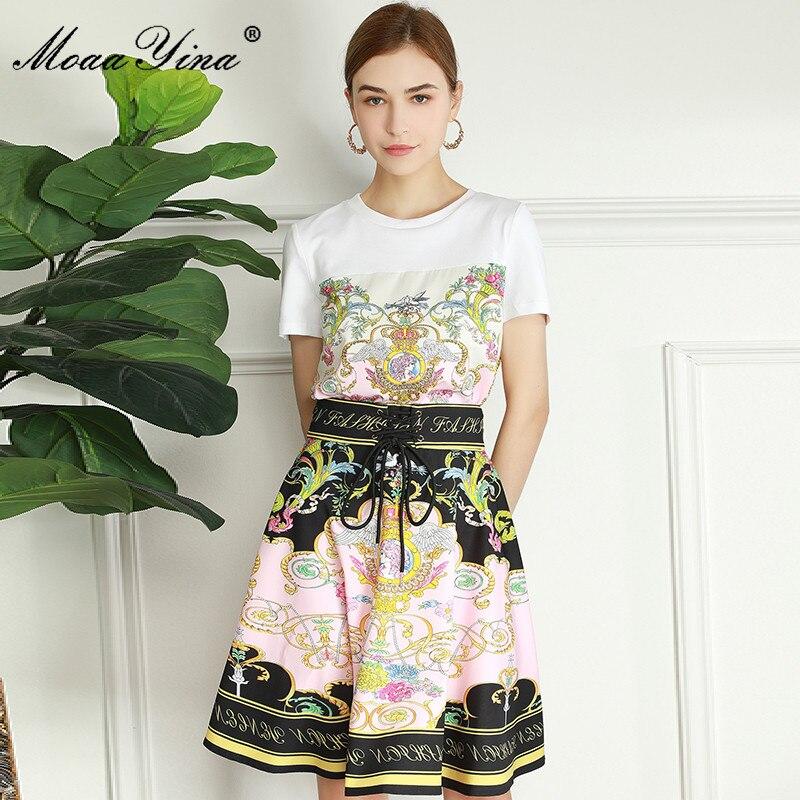 MoaaYina الأزياء المدرج الصيف عارضة طباعة تنورة دعوى المرأة قصيرة الأكمام الأبيض أعلى + عالية الخصر مصغرة تنورة 2 قطعة بدلة