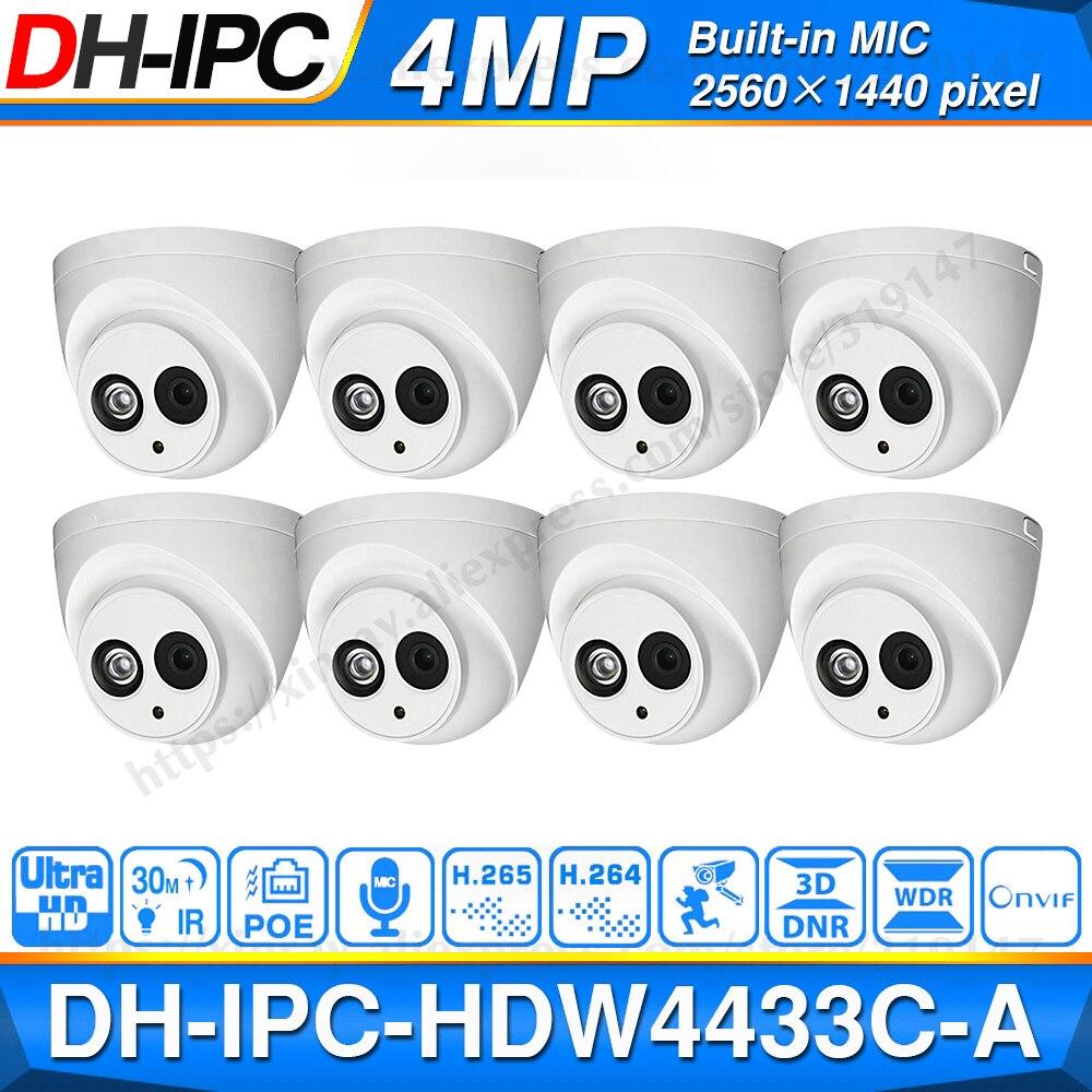 الجملة داهوا IPC-HDW4433C-A POE شبكة كاميرا قبة صغيرة مع المدمج في مايكرو 4MP CCTV كاميرا 8 قطعة/الوحدة لنظام الدوائر التلفزيونية المغلقة