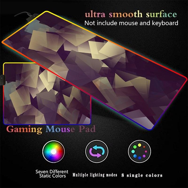 Кубическая Геометрическая текстура коврик для мыши RGB светодиодный Большой игровой коврик для мыши ноутбук Настольный коврик для игрока ко...