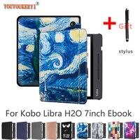 Чехол для электронной книги Kobo Libra H2O 7 дюймов, Премиум чехол из искусственной кожи с автоматическим переходом в спящий режим/пробуждением, ч...