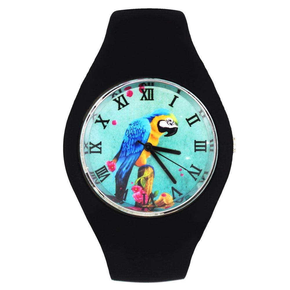 Parrot Birds Macaw Colorful Pet Bird Pattern Women Men Fashion Silicone Band Sport Quartz Wrist Watch