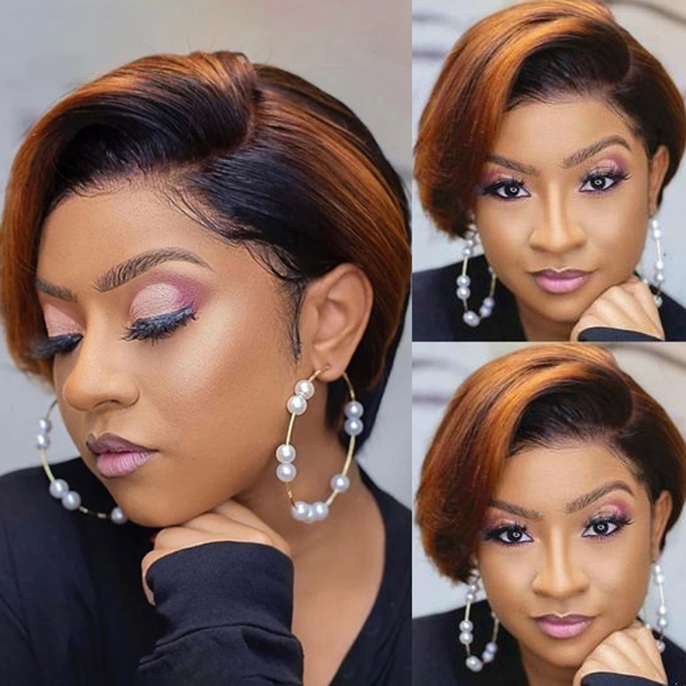 Short Pixie Cut Wig Part Lace Human Hair Wig Ombre Blonde Lace Bob Straight Wigs Lace Front Human Hair Wigs For Black Women