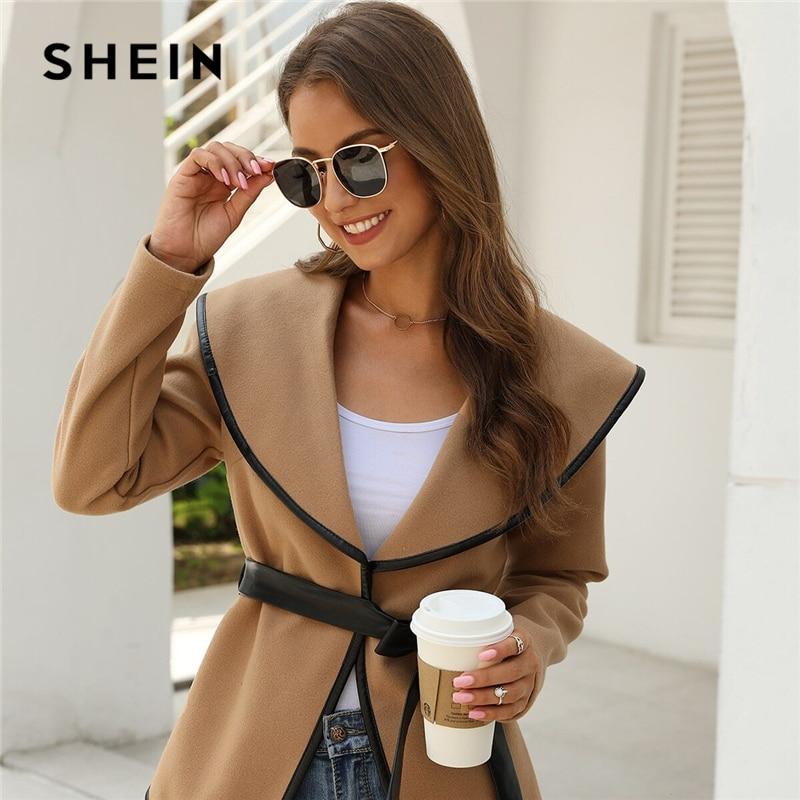 Shein casaco de manga longa com cinto feminino, casaco casual liso com gola cachoeira, roupa urbana para mulheres, outono 2019