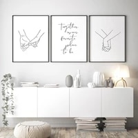 nordic poster black and white holding hands canvas prints together quote wall pictures for living room abstract minimalist decor