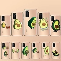 avocado cute cartoon fruit phone case transparent for huawei p 40 20 30 10 mate pro lite plus