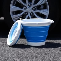 10l silicone foldable bucket clean space saving bucket for travel outdoor camping fishing car washing bucket supplies