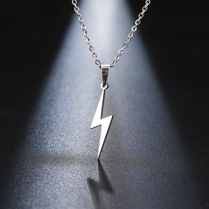 Stainless Steel Necklace Hot Lightning Necklace For Women Protection Pendants For Girlfriend Gift Rose Gold Silver Color Jewelry